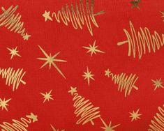 Kaemingk Stredový pás so stromčekmi, 32 x 150 cm, červený/zlatý, polyester