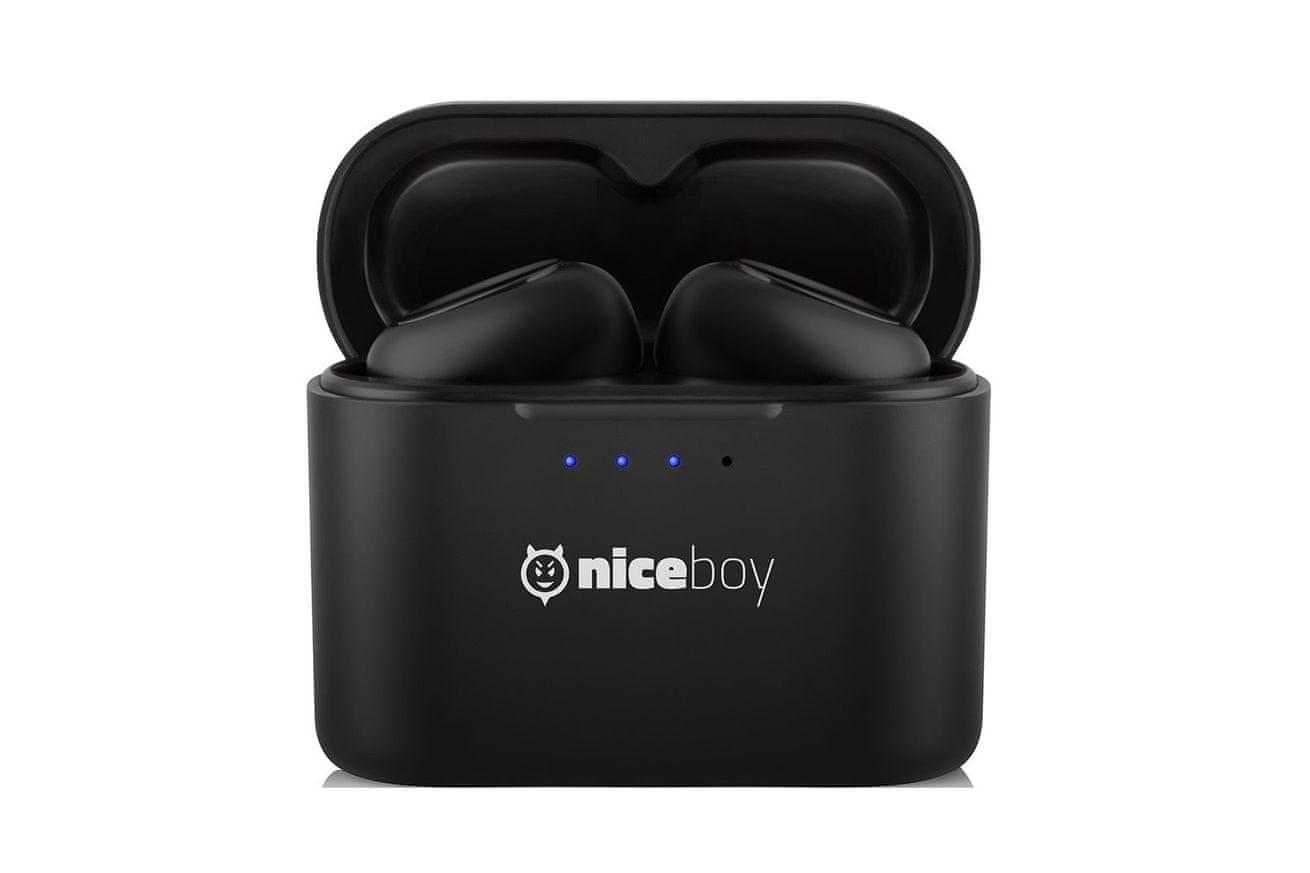 bluetooth 5.0 niceboy hive podsie sluchátka bezdrátová dokonale čistý zvuk true wireless maxxbass až 15 h výdrž baterie ip54 voděodolná prachuodolná microUSB nabíjení handsfree mikrofon s redukcí šumu smart buttons
