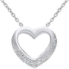 Silvego Stříbrný náhrdelník SRDCE se zirkony LPS0243 stříbro 925/1000