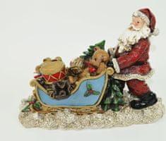 DUE ESSE Podświetlana dekoracja Świętego Mikołaja z saniami 28 cm