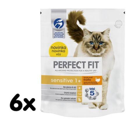 Perfect fit suha hrana za mačke s puranjim mesom, 6x750g