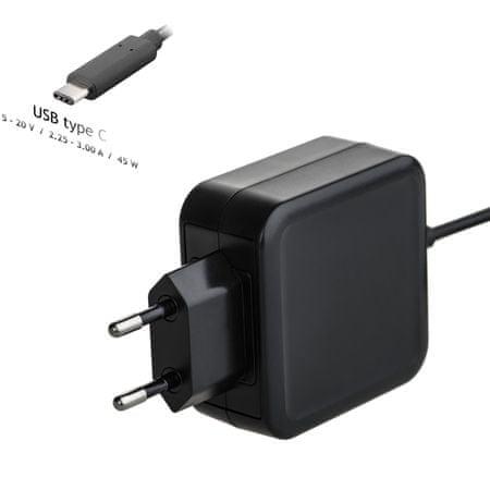 Akyga AK-ND-60 polnilec za prenosnike, 20V / 2.25 - 3A, 45W, USB type C