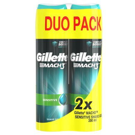 Gillette moški gel za britje Mach3 Complete Defense Sensitive, 2 x 200 ml