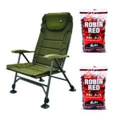 Carp Spirit Křeslo Carp Spirit HI Back Level Chair + DB pelety Robin Red 2x1kg ZDARMA