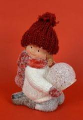DUE ESSE dekoracja dziecka ze świecącą kulą, biały sweter