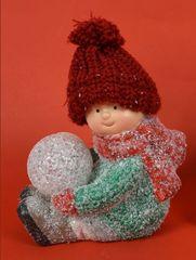 DUE ESSE dekoracja dziecka ze świecącą kulą, zielony sweter