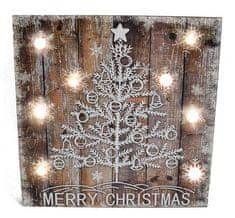 DUE ESSE Świąteczny świecący obraz drzewko 32 x 36 cm