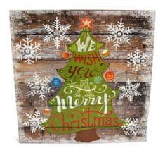 DUE ESSE Świąteczny świecący obraz zielone drzewko 32 x 36 cm