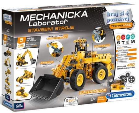 Clementoni mehanski laboratorij - Gradbeni stroji, 5 mega modelov, 450 kosov