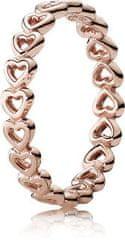 Pandora Bronzový srdiečkový prsteň 180177 striebro 925/1000
