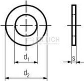Killich podložka M14 pr. 15x28x2.5 ZINEK 300HV plochá DIN 125A