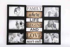 Sifcon Nástěnný fotorámeček FAMILY, 50 × 37 × 3 cm, plast, černý