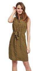 VILA Dámské šaty Viamona S/L Dress Dark Olive