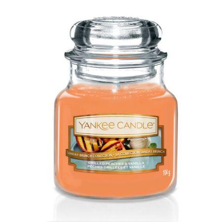 Yankee Candle Classic illatgyertya Grilezett őszibarack és vanília (Grilled Peaches & Vanilla) 104 g - kicsi