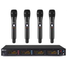 Power Dynamics  PD504H, 4-kanálový UHF mikrofonní set, 4x ruční mikrofon