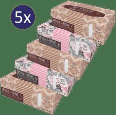 Onclé chusteczki do nosa BOX - 5x 80szt. - 4-warstwowe - z olejkiem z dzikiej róży i naturalnym skwalanem