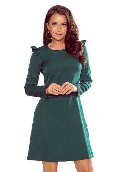 Numoco Šaty s volánky na ramenou zelené, velikost L