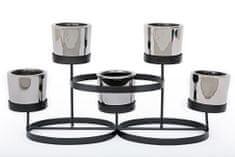 Sifcon Svícen na 5 ks čajových svíček, 35x18 cm, černo/stříbrný
