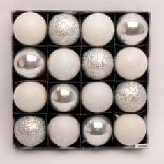 Seizis Set 16 koulí v krabici, Ø 6 cm, bílo-stříbrné