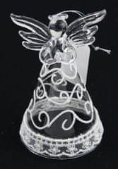 Seizis Skleněný anděl, bíle zdobený, 12 cm, v blistru