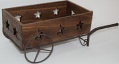 DUE ESSE voziček z zvezdami, okrasek, temen les, 42 cm