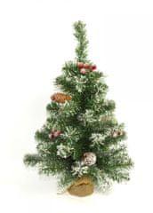 DUE ESSE dekoracja świąteczna - ośnieżona choinka 60 cm w jutowym worku, z jagodami i szyszkami