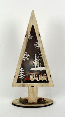 DUE ESSE Dřevěný svítící vánoční stromek 32 cm, Santa a mašinka