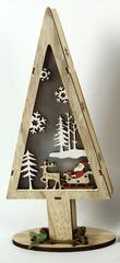 DUE ESSE Drewniana choinka świecąca 32 cm, Święty Mikołaj i sanie z reniferami
