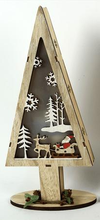 DUE ESSE Osvetljeno božično drevo Božiček in sani, 32 cm