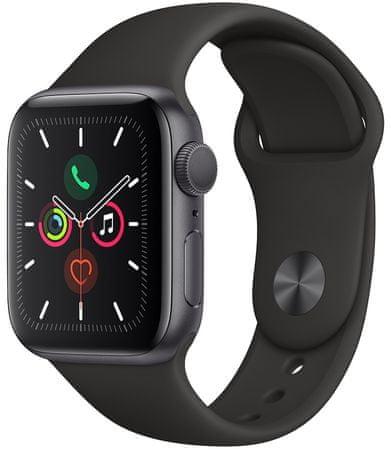 Apple smartwatch Watch Series 5 GPS, 40mm Space Grey Aluminium Case with Black Sport Band (MWV82HC/A)