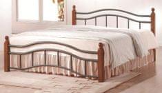 KELEBRIA, postel 180x200 s roštem, třešeň antická, kov/masiv