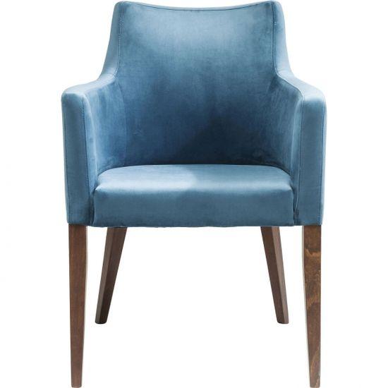 KARE Modrá čalouněná židle s područkami Mode Velvet