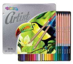 Pastelky kulaté Colorino Artist v kovovém boxu 24 ks