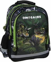 Derform Školní batoh Dinosauři ergonomický II 38cm zelený