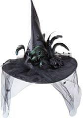 Wicked Čarodějnický klobouk se závojem a pírky deluxe