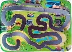 House of Kids Dětský hrací koberec Závodní dráha 3D Ultra Soft 130x180 zelený