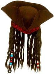 Wicked Pirátský klobouk deluxe s vlasy a šátkem Jack Sparrow
