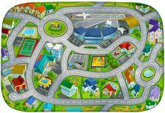 Achoka HOUSE OF KIDS Dětský hrací koberec Letiště 3D Ultra Soft 130x180 zelený