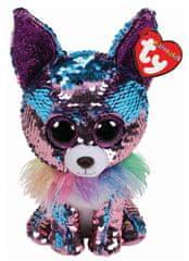 TY Beanie Boos Flippables YAPPY - modro-fialová čivava 24 cm s otočnými flitry