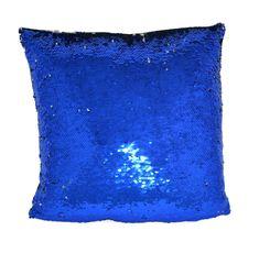DUE ESSE Flitrový magický polštář 38 x 38 cm, modrá-stříbrná