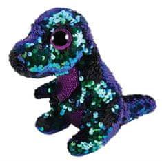 TY Beanie Boos Flippables Crunch - fialovo-zelený dinosaur 24 cm s otočnými flitry
