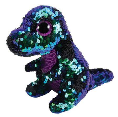 TY Beanie Boos Flippables Crunch - lila-zöld dinoszaurusz 24 cm kétoldalas flitterekkel