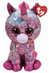 TY Beanie Boos Flippables Sparkle - růžový jednorožec 24 cm s otočnými flitry