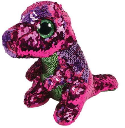 TY maskotka Beanie Boos Flippables Stompy - różowo-zielony dinozaur z obracanymi cekinami, 24 cm