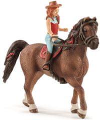 Schleich Vörös hajú Hannah és lova Cayenne