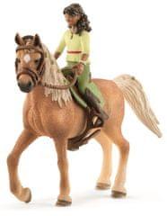 Schleich figurki - czarnowłosa Sarah i koń Mystery