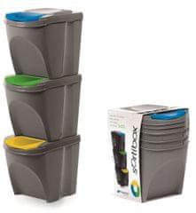 Prosperplast Sada 3 odpadkových košů SORTIBOX šedý kámen 392X293X335