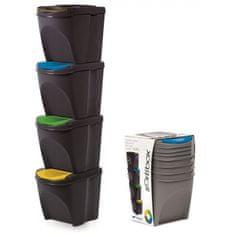 Prosperplast Sada 4 odpadkových košů SORTIBOX ANTRACIT 392x293x325