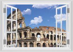 Zooyoo Samolepka na zeď 3D okno Koloseum 50 x 70 cm