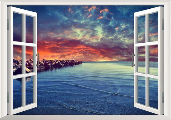 Zooyoo Samolepka na zeď 3D okno večerní pláž 48 x 68 cm